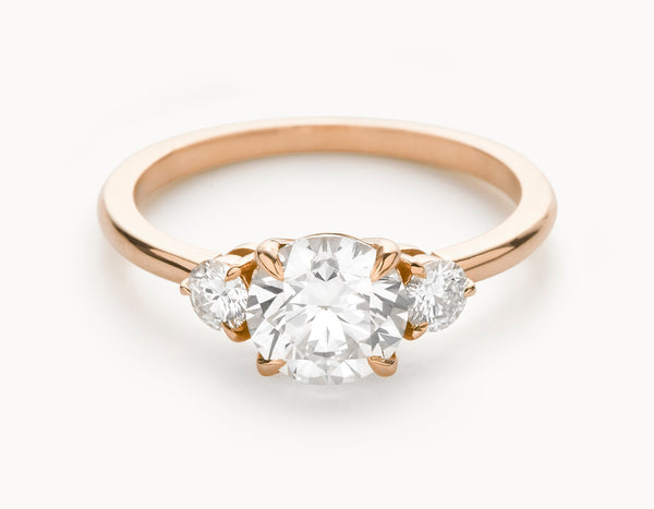 Minimal 18k Rose Gold Three Stone Diamond Engagement Ring