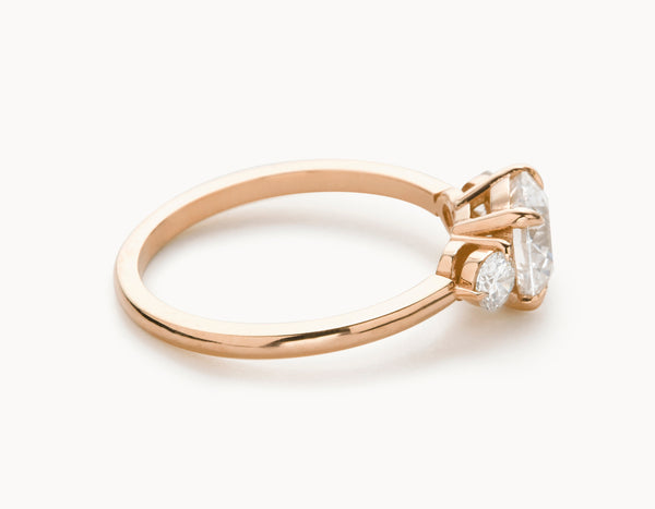 Modern 18k Rose Gold Three Stone Diamond Engagement Ring