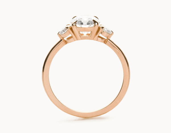 Simple 18k Rose Gold Three Stone Diamond Engagement Ring