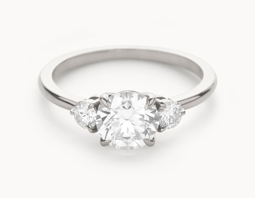 Minimal 18k White Gold Three Stone Diamond Engagement Ring