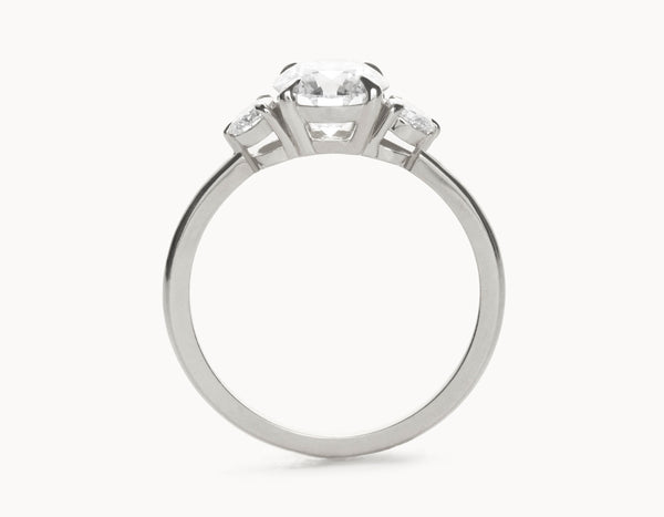 Simple 18k White Gold Three Stone Diamond Engagement Ring
