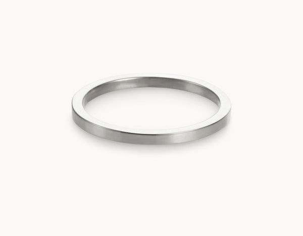 Modern 18k White Gold Men's Women's Wedding Band