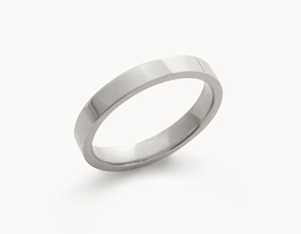 Minimal 18k White Gold Men's Women's Wedding Band