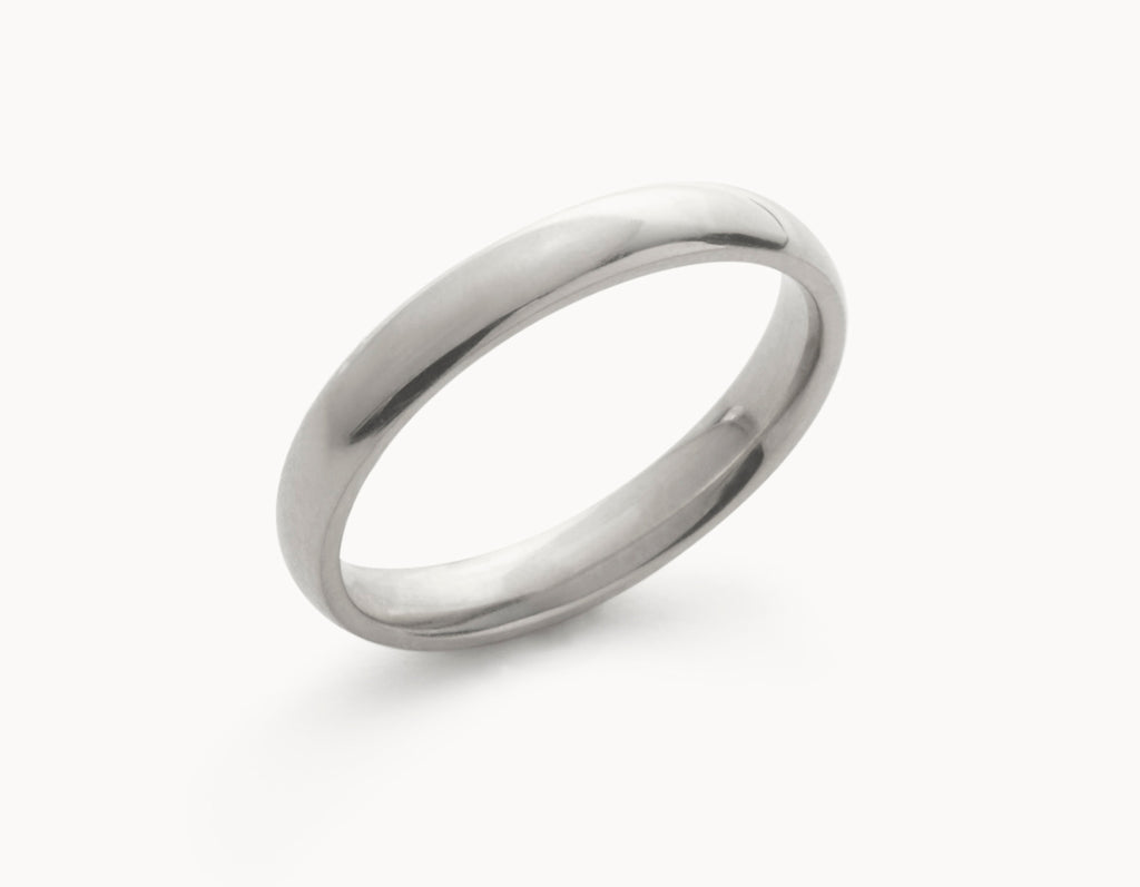 Simple 18k White Gold Men's Women's Wedding Band