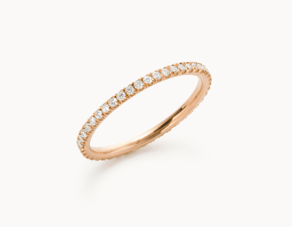 Modern 18k Rose Gold Infinity Eternity Wedding Band