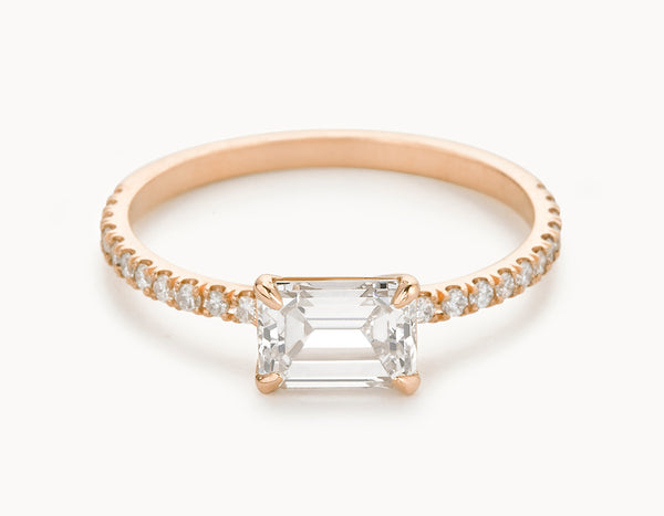 Classic 18k Rose Gold Emerald Cut Horizontal Setting Pave Band Diamond Engagement Ring