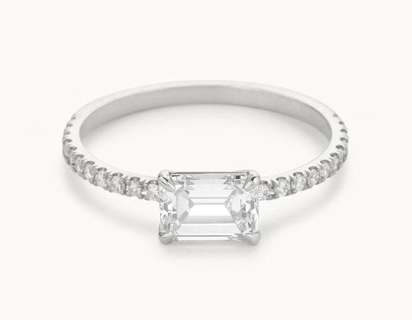 Simple 18k White Gold Emerald Cut Horizontal Setting Pave Band Diamond Engagement Ring
