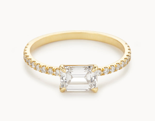 Minimal 18k Yellow Gold Emerald Cut Horizontal Setting Pave Band Diamond Engagement Ring