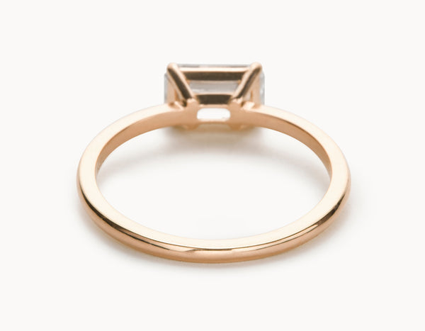 Simple 18k Rose Gold Emerald Cut Horizontal Setting Diamond Engagement Ring