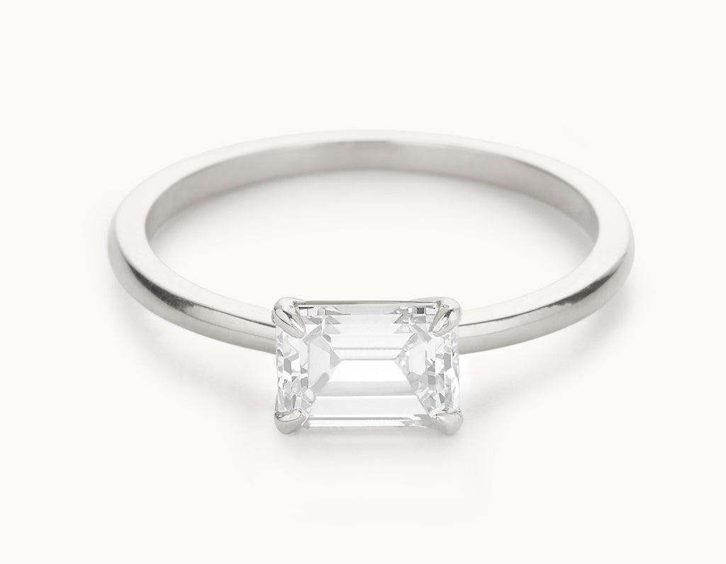 Minimal 18k White Gold Emerald Cut Horizontal Setting Diamond Engagement Ring