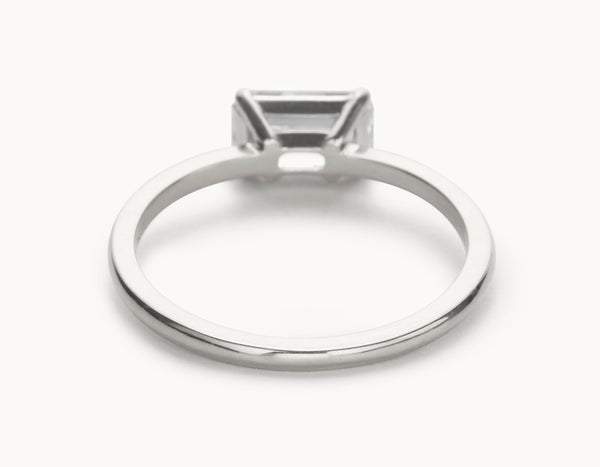 Simple 18k White Gold Emerald Cut Horizontal Setting Diamond Engagement Ring