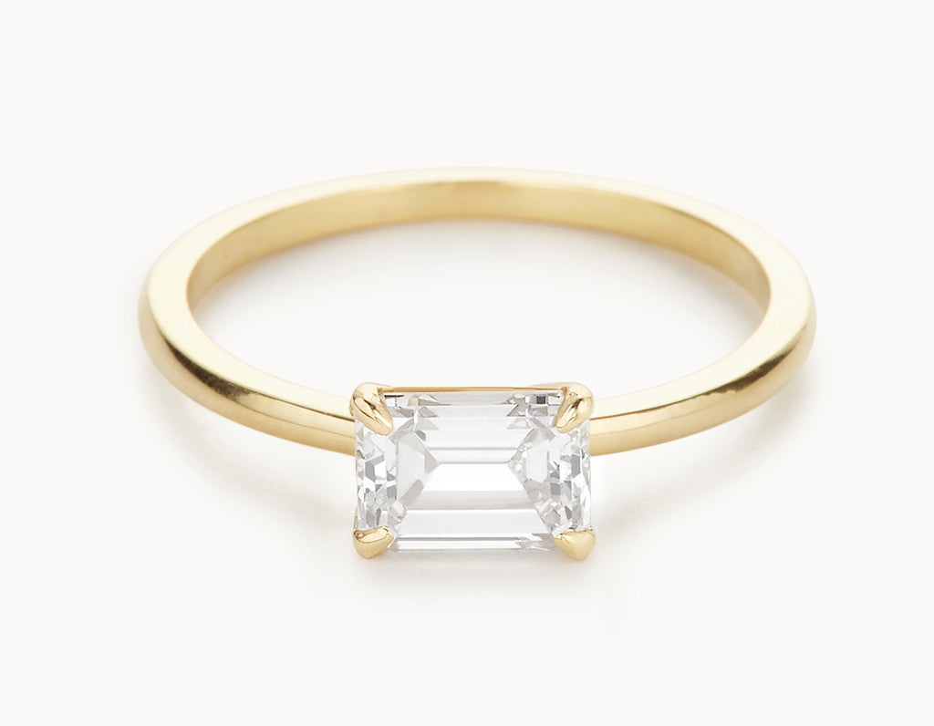 Modern 18k Yellow Gold Emerald Cut Horizontal Setting Diamond Engagement Ring