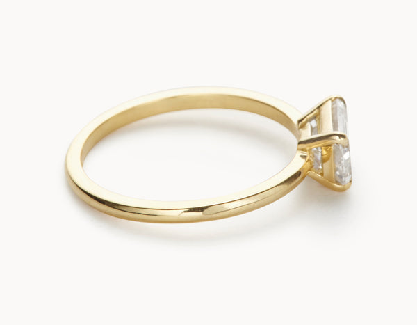 Minimal 18k Yellow Gold Emerald Cut Horizontal Setting Diamond Engagement Ring