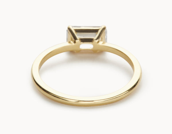 Simple 18k Yellow Gold Emerald Cut Horizontal Setting Diamond Engagement Ring