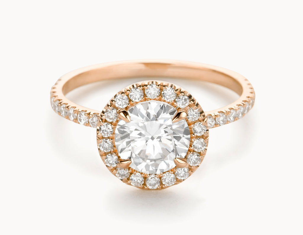 Minimal 18k Rose Gold Halo Pave Band Diamond Engagement Ring