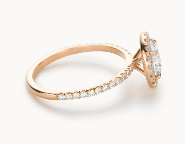 Minimal 18k Rose Gold Halo Pave Band Diamond Engagement RingModern 18k Rose Gold Halo Pave Band Diamond Engagement Ring