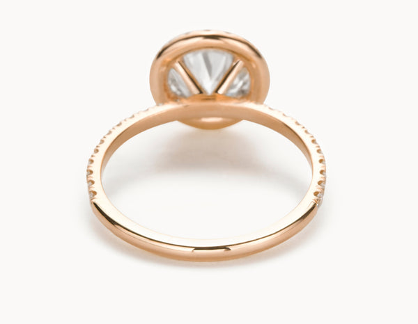 Classic 18k Rose Gold Halo Pave Band Diamond Engagement Ring