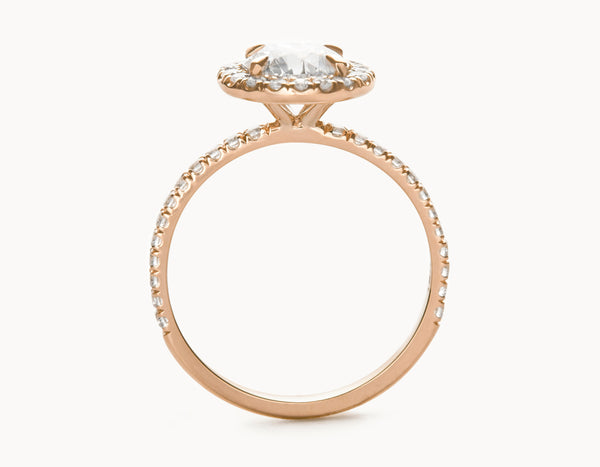 Simple 18k Rose Gold Halo Pave Band Diamond Engagement Ring