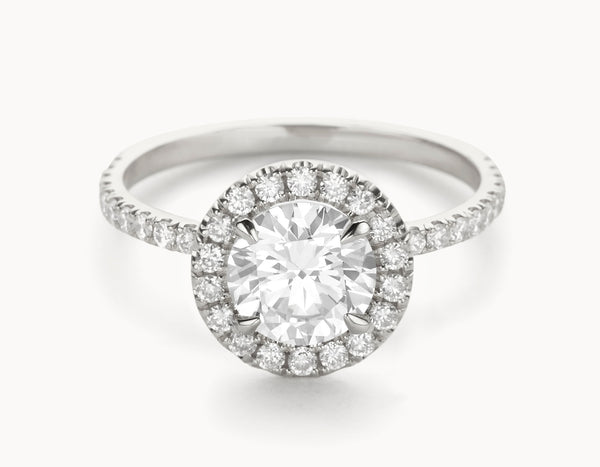 Minimal 18k White Gold Halo Pave Band Diamond Engagement Ring