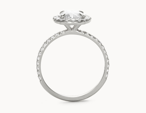 Simple 18k White Gold Halo Pave Band Diamond Engagement Ring