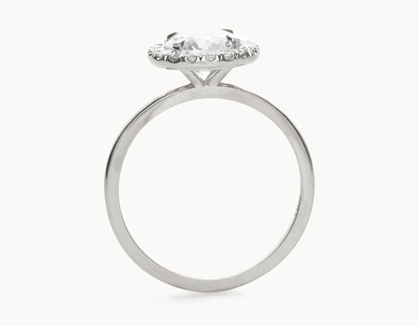 Simple 18k White Gold Halo Diamond Engagement Ring