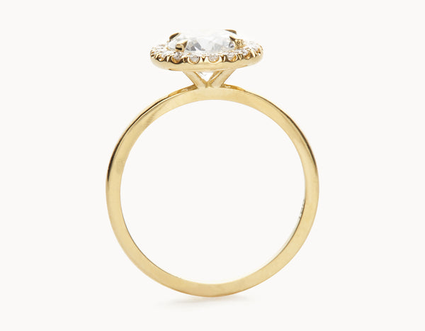 Simple 18k Yellow Gold Halo Diamond Engagement Ring