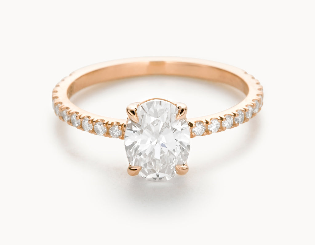 Minimal 18k Rose Gold Oval Vertical Setting Pave Band Diamond Engagement Ring