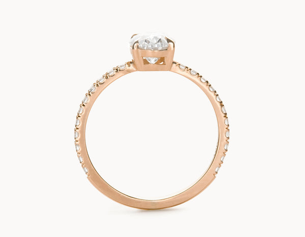 Simple 18k Rose Gold Halo Oval Vertical Setting Band Diamond Engagement Ring