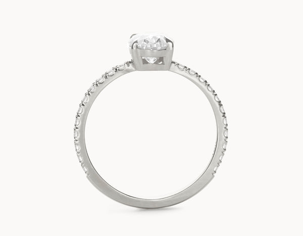 Simple 18k White Gold Halo Oval Vertical Setting Band Diamond Engagement Ring