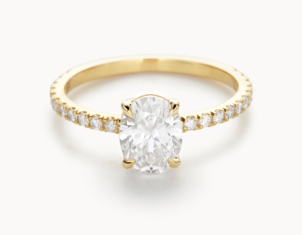 Minimal 18k Yellow Gold Oval Vertical Setting Pave Band Diamond Engagement Ring