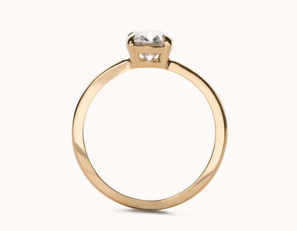 Simple 18k Rose Gold Oval Vertical Setting Diamond Engagement Ring