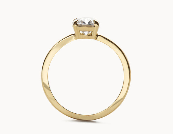 Simple 18k Yellow Gold Oval Vertical Setting Diamond Engagement Ring