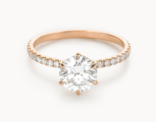 Minimal 18k Rose Gold Solitaire Round Brilliant Pave Band Diamond Engagement Ring