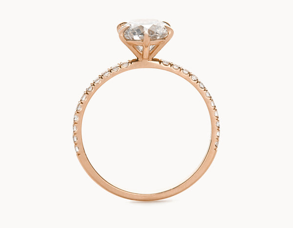 Simple 18k Rose Gold Solitaire Round Brilliant Pave Band Diamond Engagement Ring