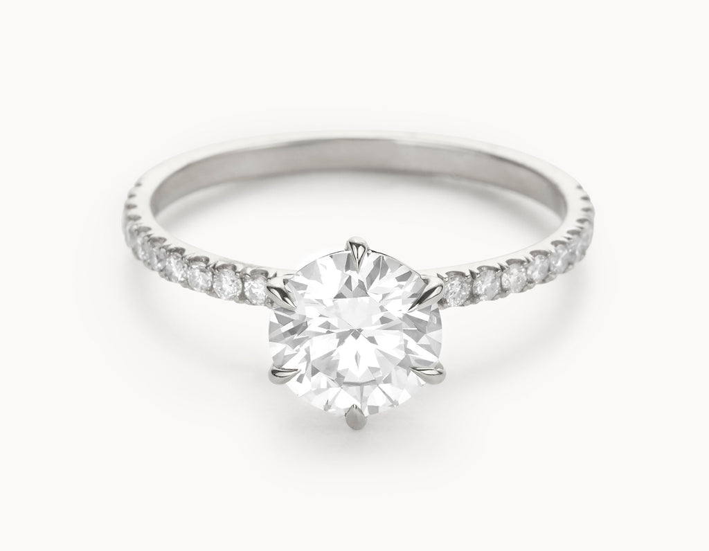 Minimal 18k White Gold Solitaire Round Brilliant Pave Band Diamond Engagement Ring
