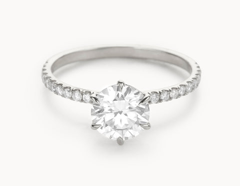 Mock - The Solitaire Pavé - White Gold