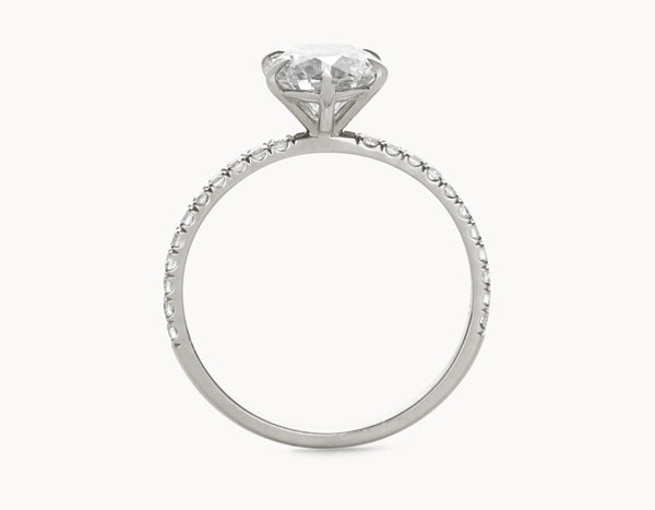 Simple 18k White Gold Solitaire Round Brilliant Pave Band Diamond Engagement Ring