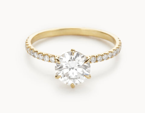 Mock - The Solitaire Pavé - Yellow Gold
