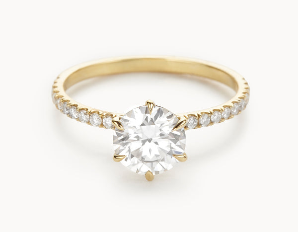 Minimal 18k Yellow Gold Solitaire Round Brilliant Pave Band Diamond Engagement Ring
