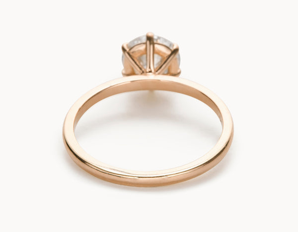 Classic 18k Rose Gold Solitaire Round Brilliant Diamond Engagement Ring