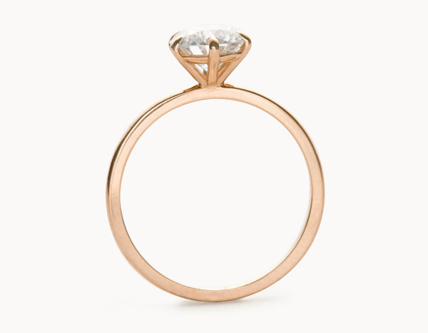 Simple 18k Rose Gold Solitaire Round Brilliant Diamond Engagement Ring