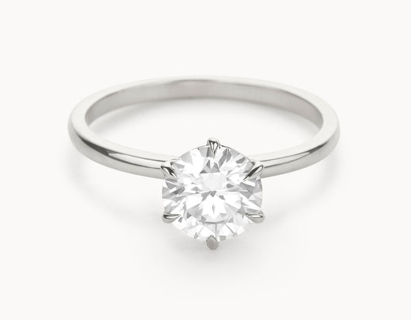 Minimal 18k White Gold Solitaire Round Brilliant Diamond Engagement Ring
