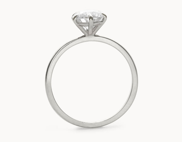 Simple 18k White Gold Solitaire Round Brilliant Diamond Engagement Ring