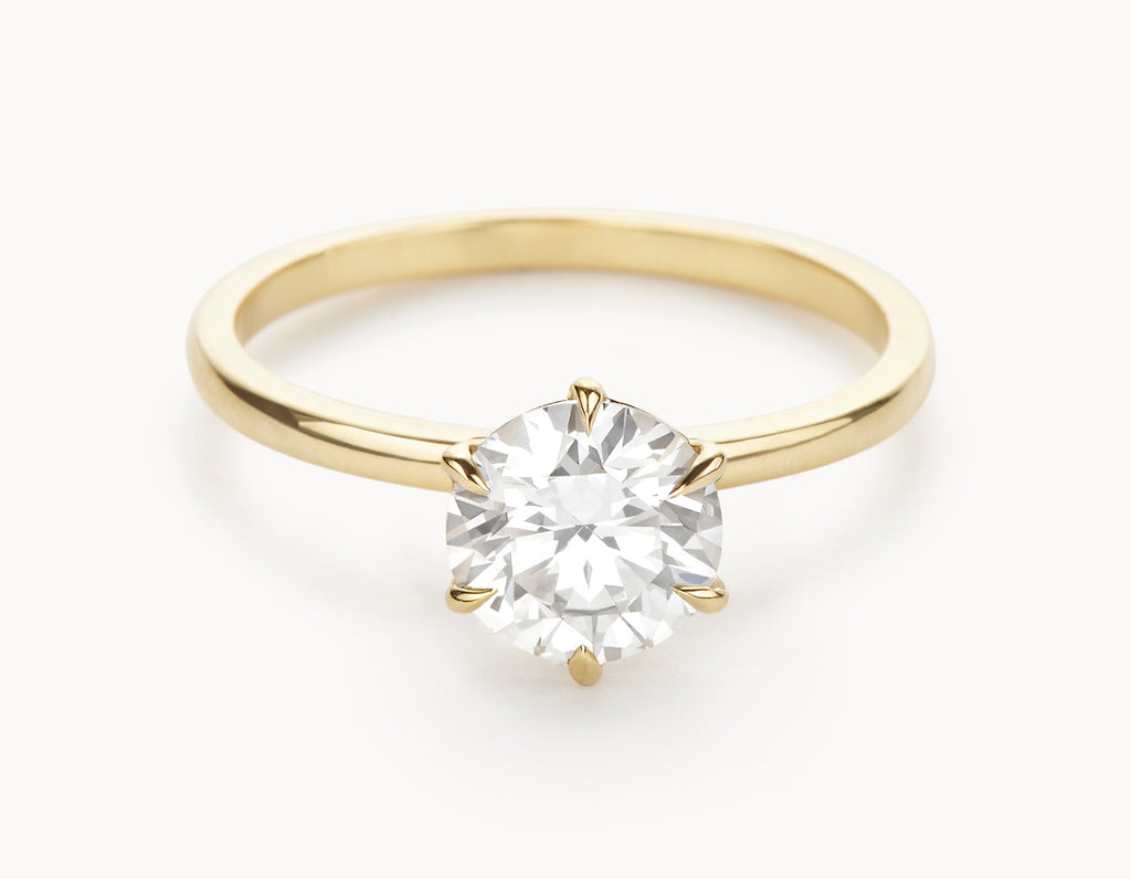 Minimal 18k Yellow Gold Solitaire Round Brilliant Diamond Engagement Ring
