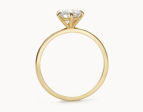 Simple 18k Yellow Gold Solitaire Round Brilliant Diamond Engagement Ring