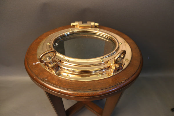 Authentic Brass Porthole Cocktail Table