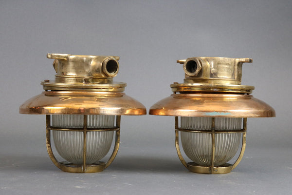 Pair of Copper Ship's Lights