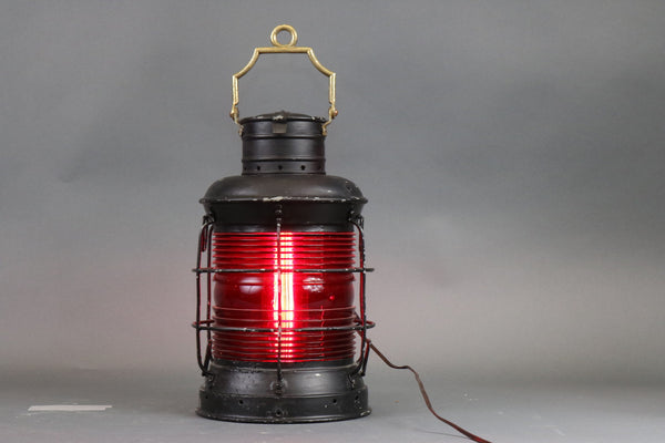 Steel Ship's Lantern with Red Lens