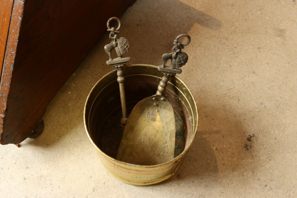 Antique Brass and Wood Coal Hod