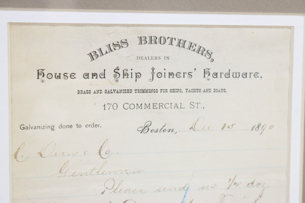 Authentic Invoice from Bliss Brothers of Boston